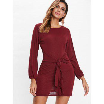 Long Sleeve Tie Waist Dress - RED WINE L