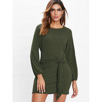 Long Sleeve Tie Waist Dress - DARK FOREST GREEN XL