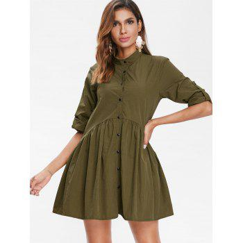 Roll Tab Sleeve Smock Dress - ARMY GREEN L