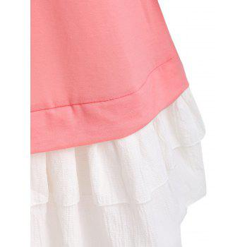 Raglan Sleeve Tunic Ruffled Dress - PINK L