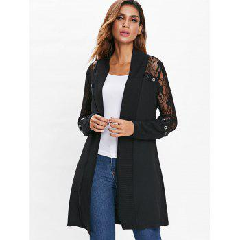 Longline Lace Panel Cardigan - BLACK L