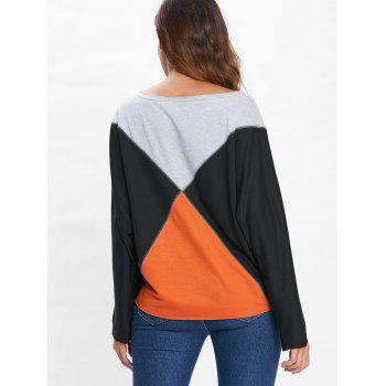 Boat Neck Batwing Sleeve T-shirt - BLACK M