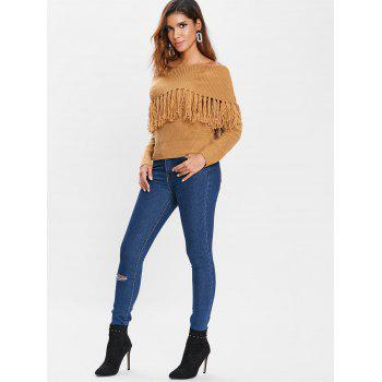 Off Shoulder Tassels Chunky Sweater - BROWN S