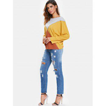 Boat Neck Batwing Sleeve T-shirt - RUBBER DUCKY YELLOW S