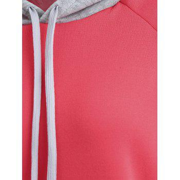 Stripe Brim Hoodie with Fleece Lining - RED M