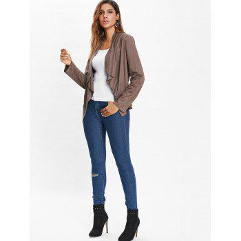 Open Front Draped Cardigan - COFFEE M