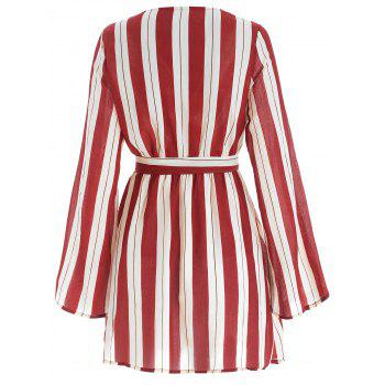 Long Sleeve Vertical Stripe Belted Dress - RED WINE L