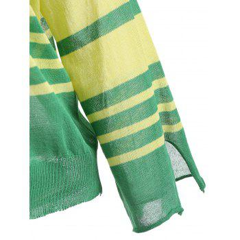 Flare Sleeve Knit Stripe Top - GREEN M
