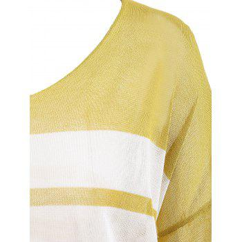 Flare Sleeve Knit Stripe Top - YELLOW L