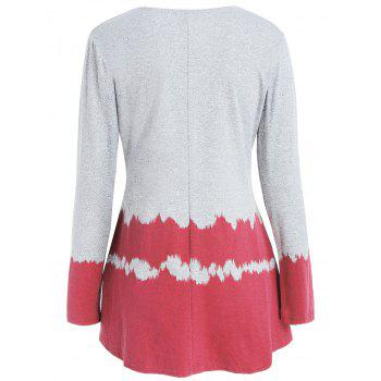 Hit Color Long Sleeve Collarless Cardigan - RED M
