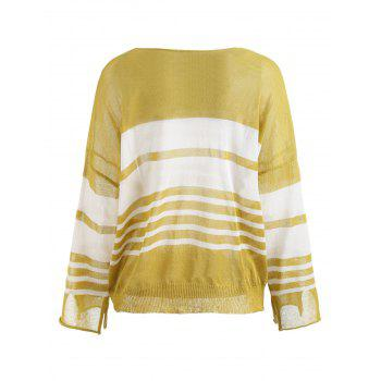 Flare Sleeve Knit Stripe Top - YELLOW XL