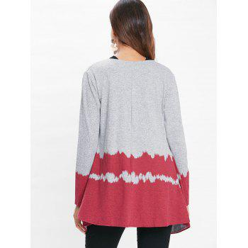 Hit Color Long Sleeve Collarless Cardigan - RED L