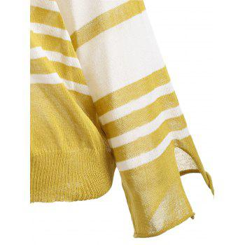 Flare Sleeve Knit Stripe Top - YELLOW M