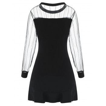 Mesh Sleeve Knit Flounce Trim Dress - BLACK M