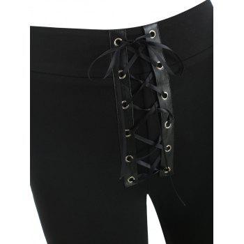 Lace Up Front Skinny Pants - BLACK L