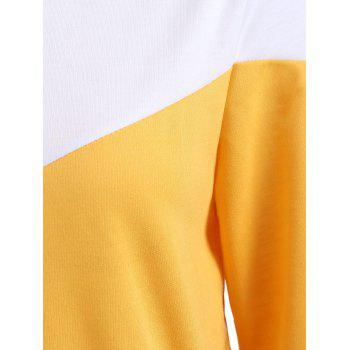 Side Pockets Hit Color Hoodie - BRIGHT YELLOW M