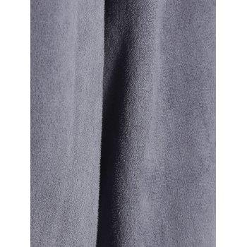 Open Front Draped Cardigan - GRAY S