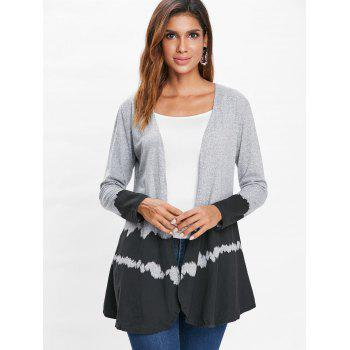 Hit Color Long Sleeve Collarless Cardigan - BLACK L
