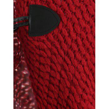 Dolman Sleeve Horn Button Cardigan - RED WINE ONE SIZE