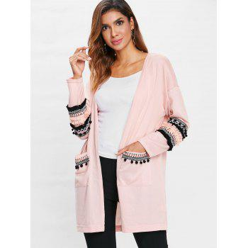Embroidery Pockets Open Front Cardigan - LIGHT PINK S
