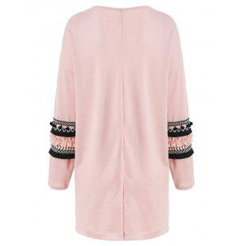 Embroidery Pockets Open Front Cardigan - LIGHT PINK M