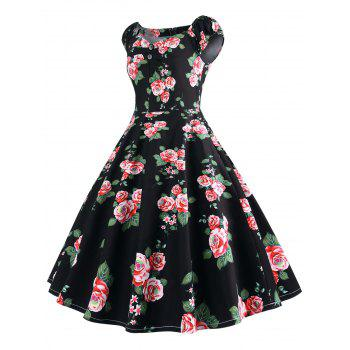 Plus Size Sweetheart Neck Vintage Dress - RED 4X