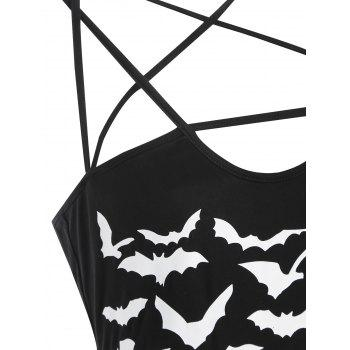 Halloween Bats Print Strappy Fitted Dress - BLACK M