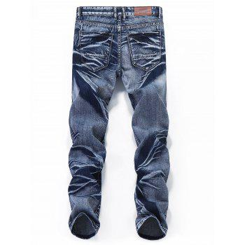 Destroyed Retro Zipper Leg Straight Jeans - JEANS BLUE 34