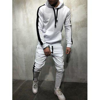 Side Stripe Drawstring Sport Suit - WHITE M