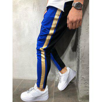 Color Block Drawstring Elastic Waist Jogger Pants - OCEAN BLUE XL
