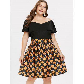 Plus Size Off Shoulder Halloween Pumpkin Dress - BLACK 2X