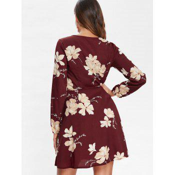 Floral Print Long Sleeve Mini Belted Dress - FIREBRICK M