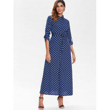 Polka Dot Belted Long Shirt Dress - BLUE M