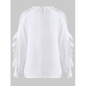 Sheer Lace Insert Flounce Blouse - WHITE S