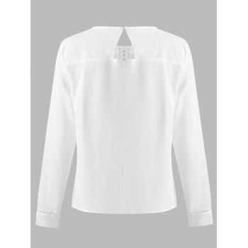 Lace Panel Cut Out Chiffon Blouse - WHITE S