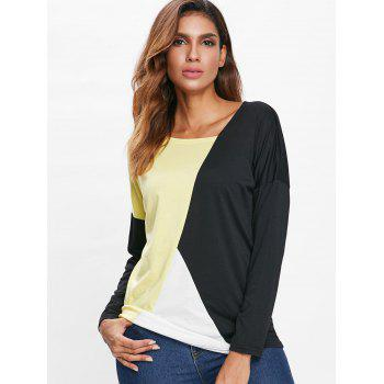 Dolman Sleeve Contrast Color T-shirt - multicolor M