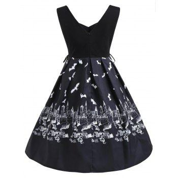 Halloween Bats Print Lace Up Side Dress - BLACK XL