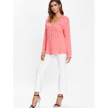 Long Sleeve Pockets Button Up Shirt - WATERMELON PINK XL