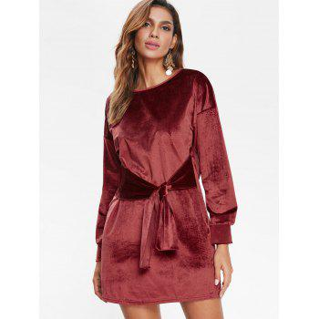 Tied Mini Velvet Dress - RED WINE M