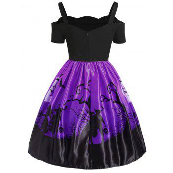 Plus Size Cut Out Halloween Dress - PURPLE 4X