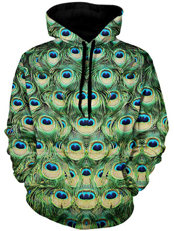 Peacock Feather Pattern Drawstring Pullover Hoodie - GREEN 3XL