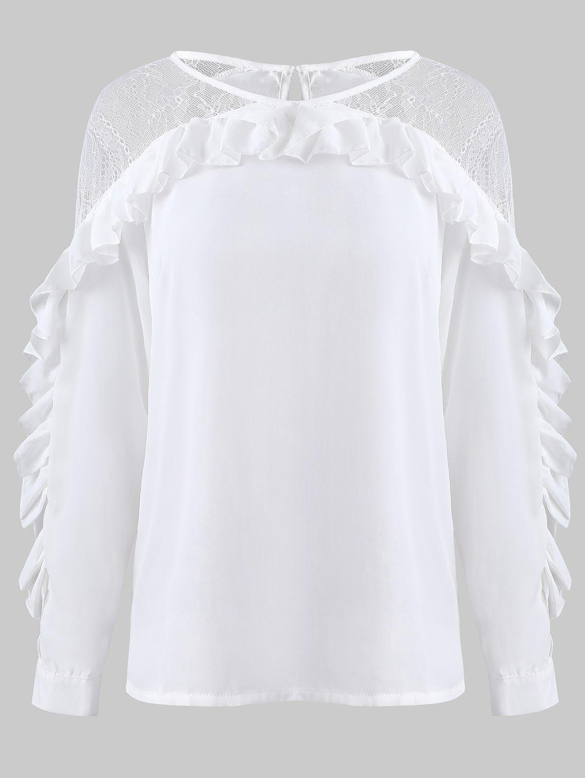 Blouse à volants en dentelle transparente - Blanc XL