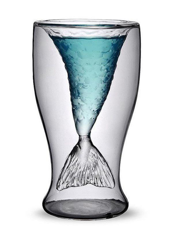 Transparent Glass Mermaid Cup - TRANSPARENT