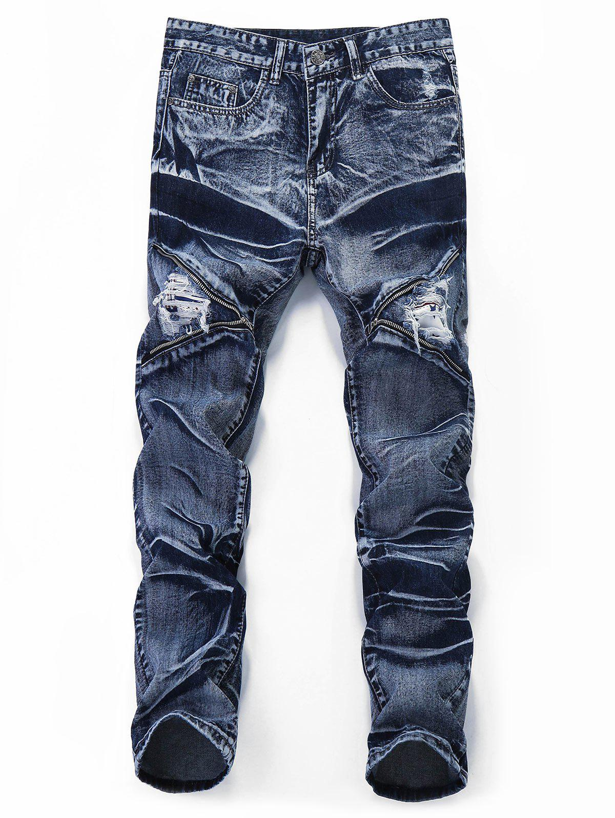 Destroyed Retro Zipper Leg Straight Jeans - JEANS BLUE 42