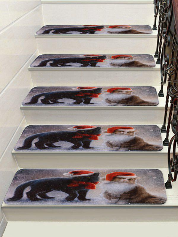 Christmas Cat Print Decorative Stair Floor Rugs - multicolor 5PCS X 28 X 9 INCH