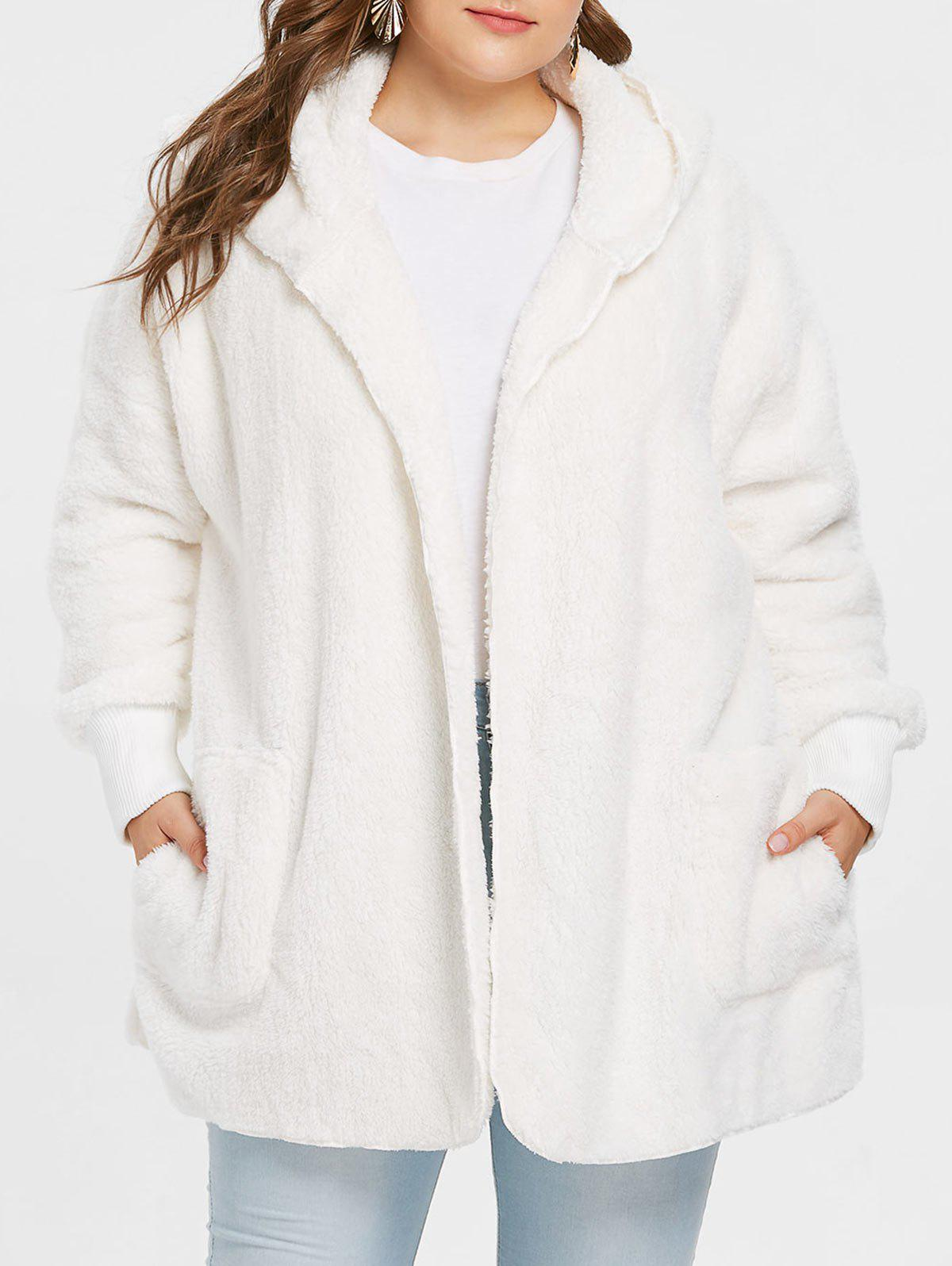Collarless Plus Size Hooded Faux Fur Coat - WHITE L