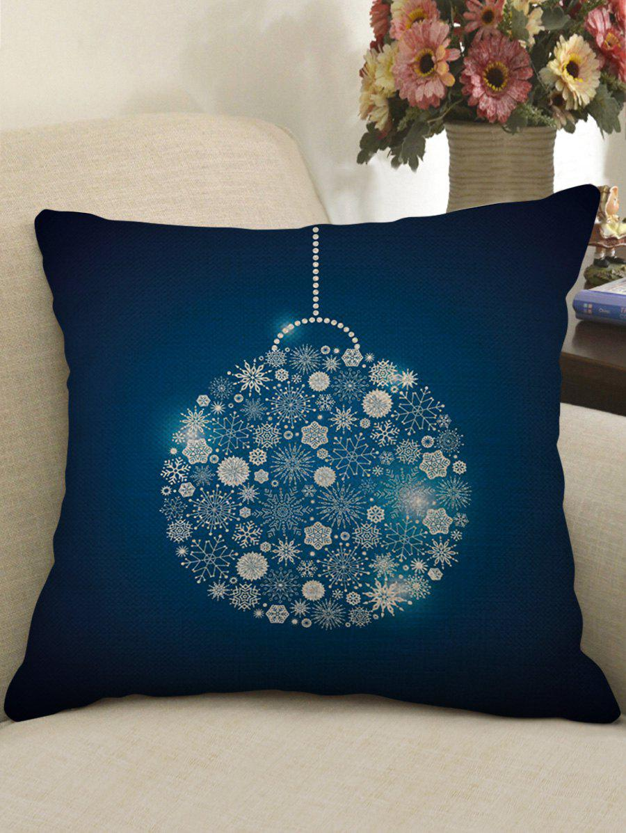 Christmas Snowflake Ball Print Sofa Linen Pillowcase - DEEP BLUE W18 X L18 INCH