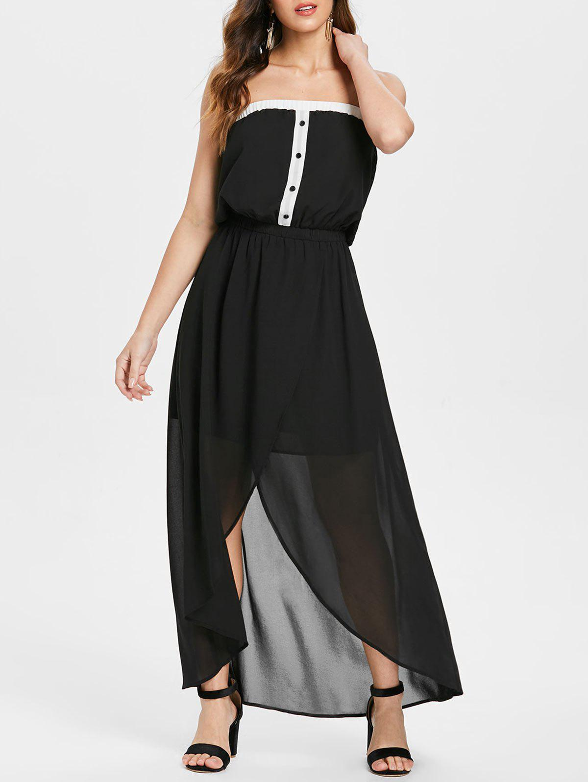Midi High Low Chiffon Tube Dress - BLACK L