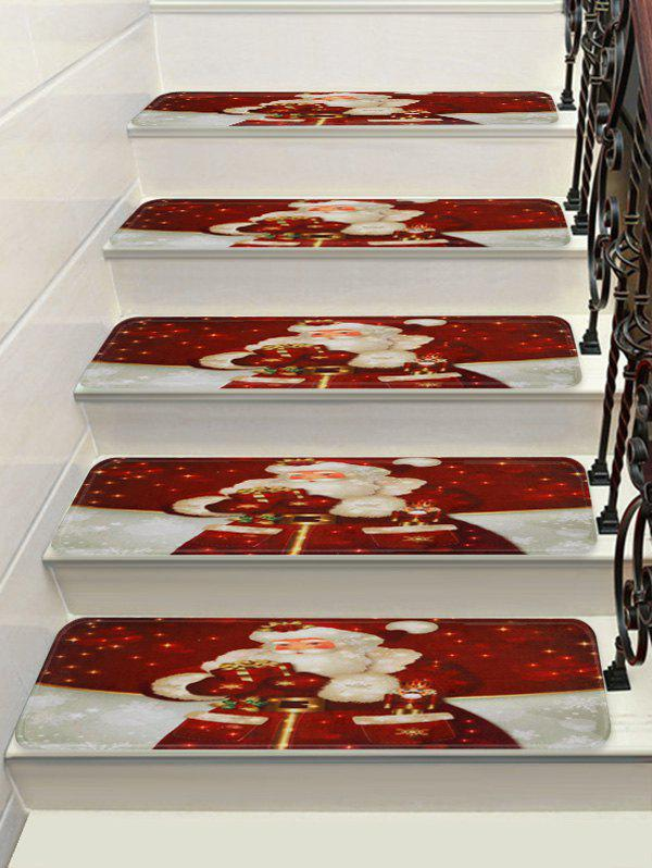 Christmas Santa Claus Printed Decorative Stair Floor Rugs - multicolor 5PCS X 28 X 9 INCH