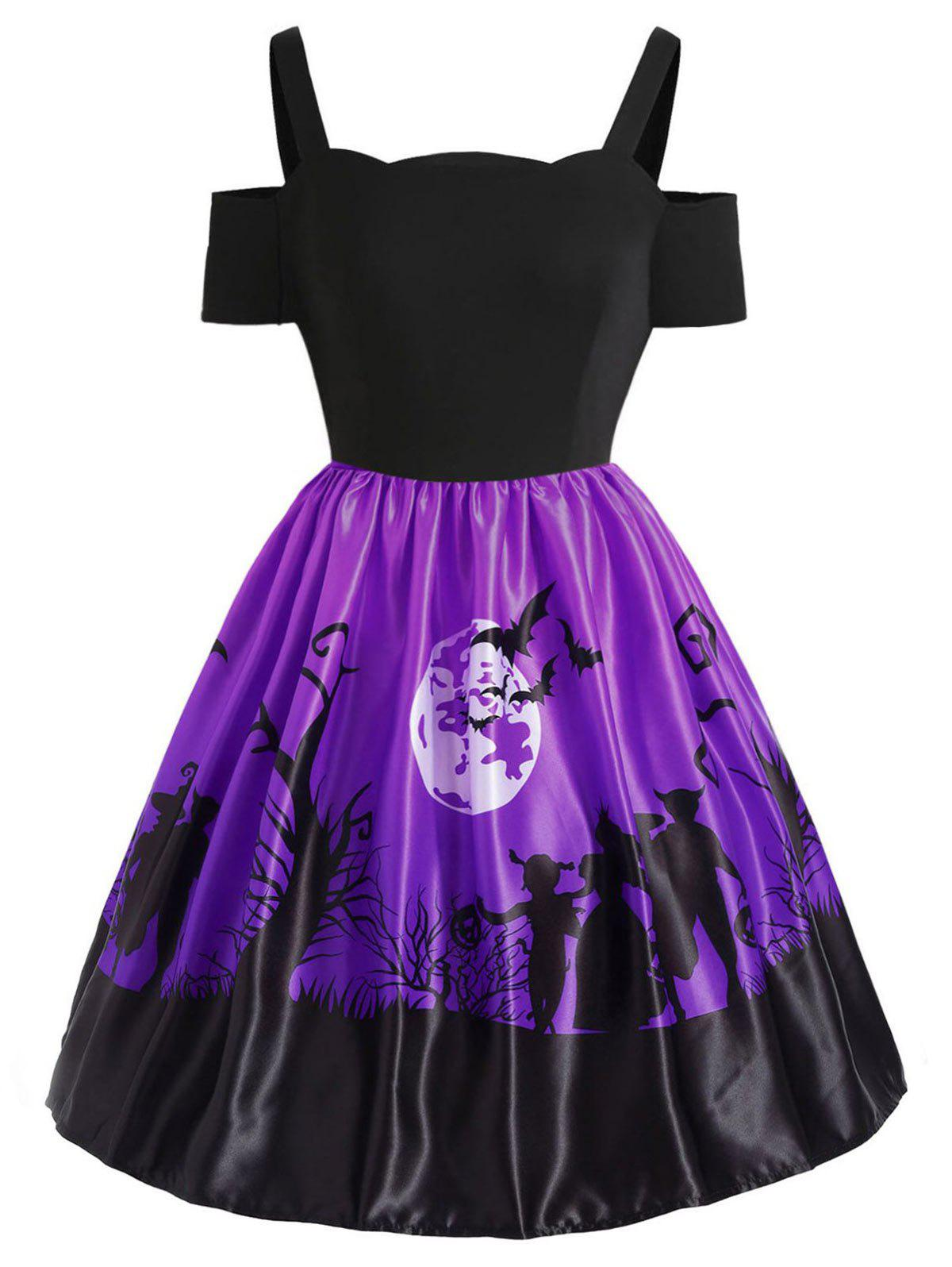 Plus Size Cut Out Halloween Dress - PURPLE 5X